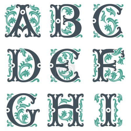 Illustration for Vector set of letters in the old vintage style. Part 1 - Royalty Free Image