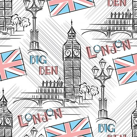 Illustration for Vector seamless background with London's Big Ben - Royalty Free Image