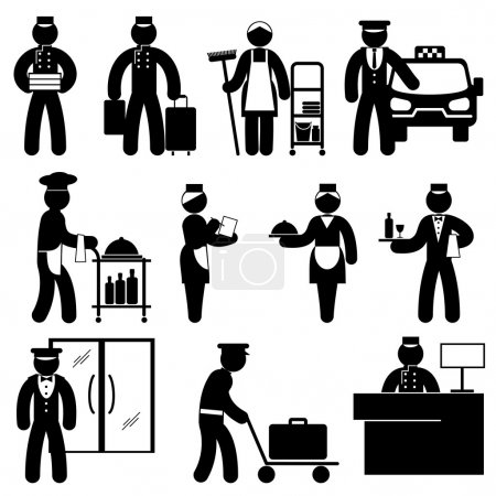 Photo for Set black and white vector icons of hotel attendant - Royalty Free Image