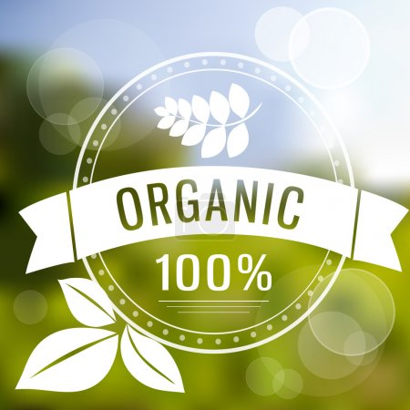 Illustration for Eco logo on blurred background. One hundred percent organic vector EPS10 illustration - Royalty Free Image