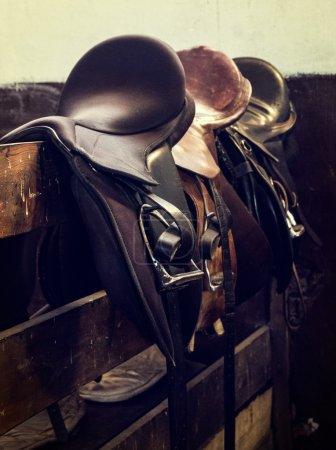 Vintage leather saddle horse
