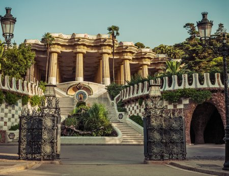 Park Guell in Barcelona. Catalonia, Spain