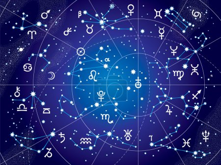 Illustration for XII Constellations of Zodiac and Its Planets the Sovereigns. Astrological Celestial Chart. (Ultraviolet Blueprint version). - Royalty Free Image