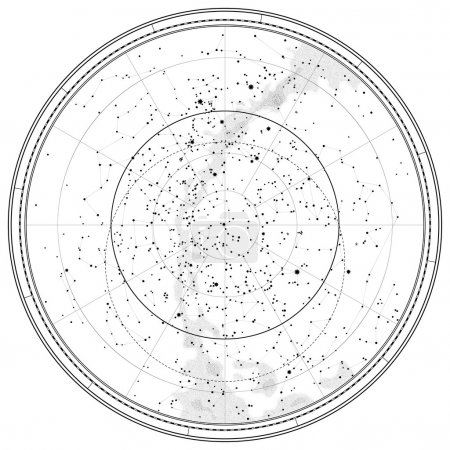 Illustration for Astronomical Celestial Map of Northern Hemisphere (detailed outline Chart EPS-10) - Royalty Free Image