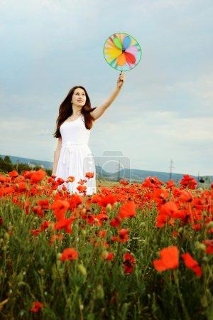 Photo pour Dame brune avec moulin à vent dans le domaine - image libre de droit