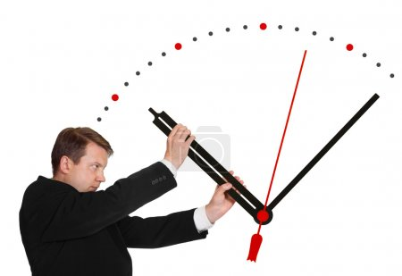 Photo for Business man stop time isolated on white background - Royalty Free Image