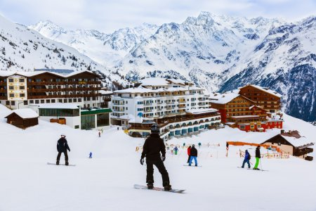 Photo for Mountains ski resort Solden Austria - nature and sport background - Royalty Free Image