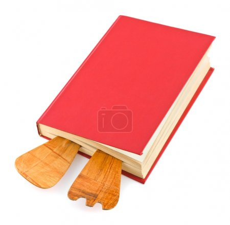 Cookbook and kitchenware isolated on white backgro...