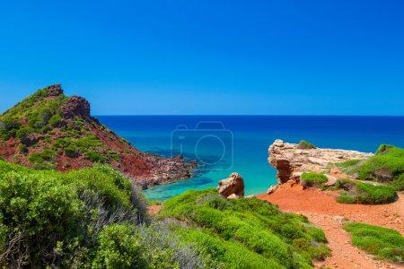 Mediterranean sea view from Menorca island coast at Cala del Pil
