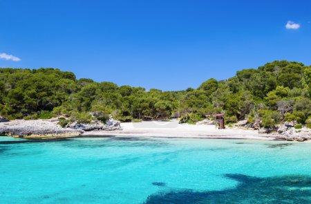 Cala Turqueta beach in sunny day, Menorca island, Spain.