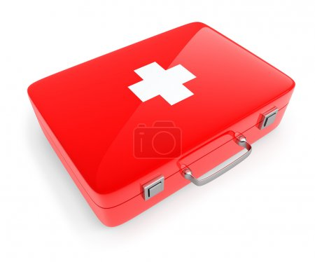 First aid kit case isolated on white.