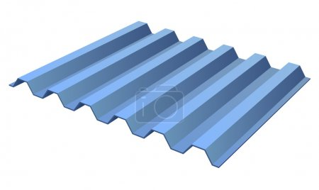 Blue profile ribbed metal panel