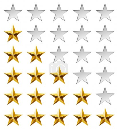 Golden stars rating template isolated on white background.