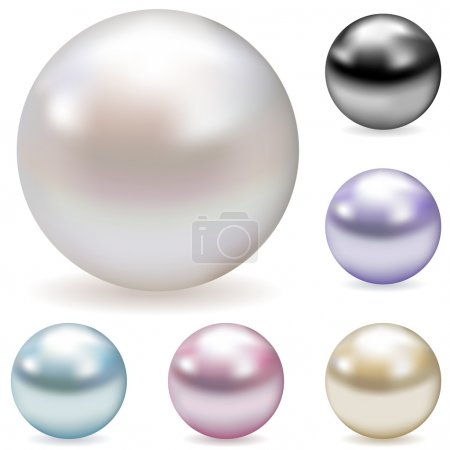 Vector collection of color pearls