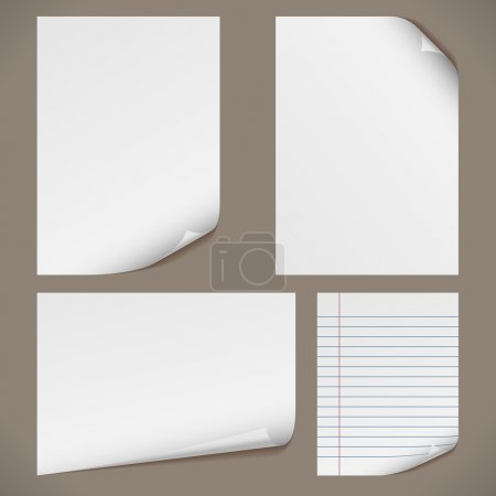 Illustration for Blank A4 papers with curled corners and notepad lined page. Original proportions are kept. - Royalty Free Image