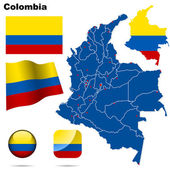 Colombia vector set Detailed country shape with region borders flags and icons isolated on white background