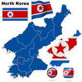 North Korea vector set Detailed country shape with region borders flags and icons isolated on white background