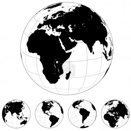 Illustration for Black and white vector Earth globes isolated on white. - Royalty Free Image