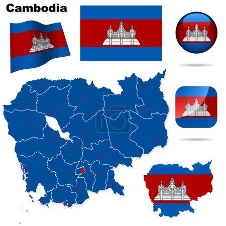 Cambodia vector set.