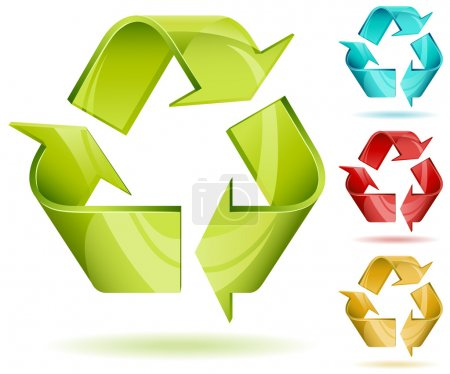 Illustration for 3D glossy recycle vector icon isolated on white with color variants. - Royalty Free Image
