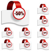 Discount tags on bent red ribbon