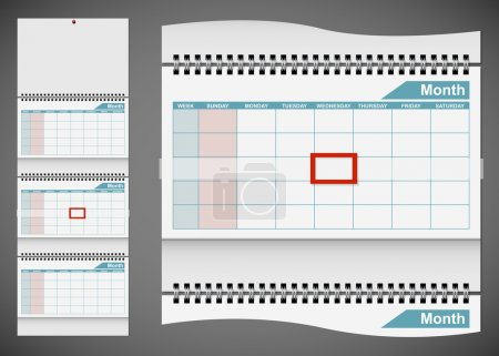 Blank standard wall calendar template isolated on gray backgroun