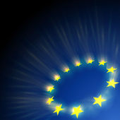 European Union stars glare on dark blue background