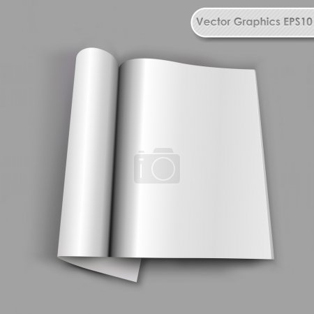 Blank opened magazine with rolled page vector template.
