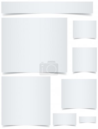Illustration for Standard sized blank web banners with curled edges effect isolated on white background. - Royalty Free Image