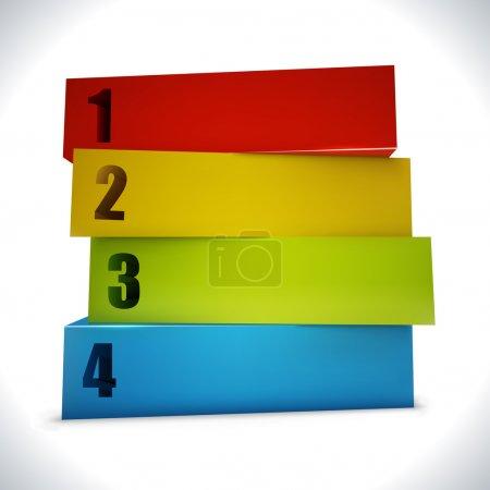 Illustration for Business presentation or website 3D blocks option template. - Royalty Free Image