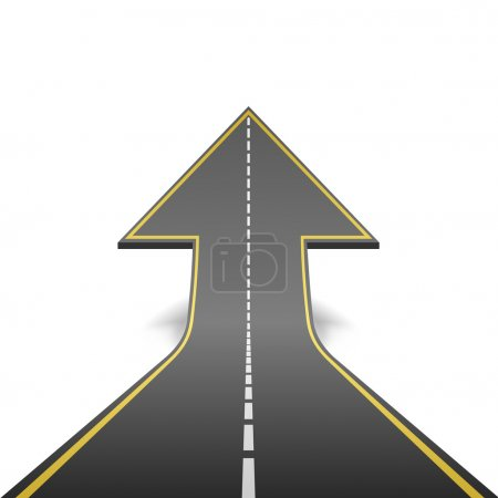 Straight road turning into ascending arrow concept vector illust