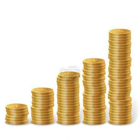 Illustration pour Élever des piles de pièces d'or isolées sur fond blanc . - image libre de droit