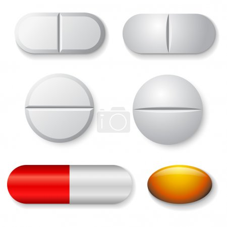 Standard tablets and pills vector set