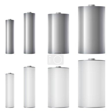 Illustration pour Batteries standard de différentes tailles modèle vectoriel . - image libre de droit