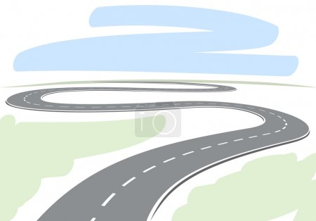 Abstract drawing of winding highway leading to the horizon vecto