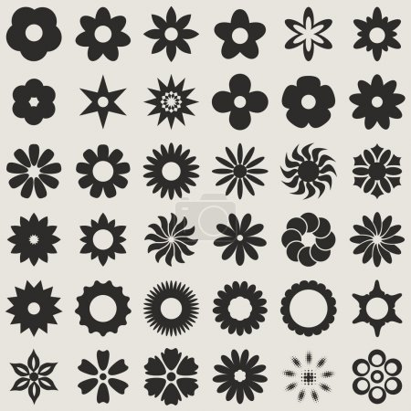 Illustration for Black and white abstract flower bud shapes vector set.  Set 1. - Royalty Free Image
