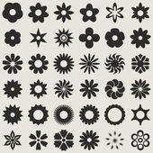 Black and white abstract flower bud shapes vector set