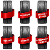 Summer tires with promo red banners