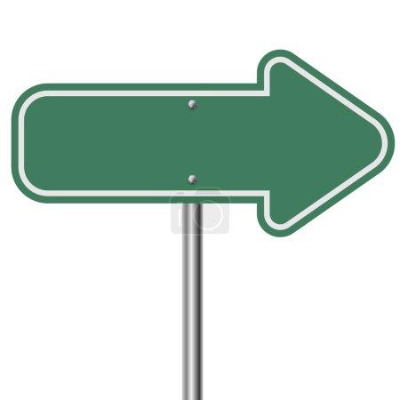 Illustration pour Pointeur de flèche verte isolé sur fond blanc . - image libre de droit