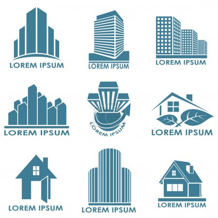 Illustration for Real estate or construction vector emblems isolated on white background. - Royalty Free Image