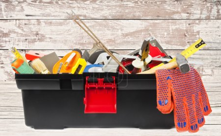 Photo for Toolbox on wooden background - Royalty Free Image