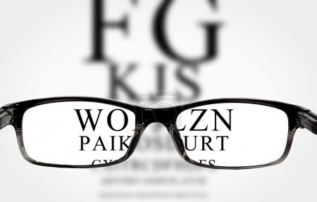 Photo for Sight test seen through eye glasses, white background isolated - Royalty Free Image