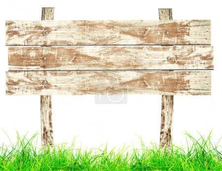 Photo for Wood signboard with grass - Royalty Free Image