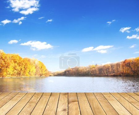 Beautiful autumn forest with water and wood planks
