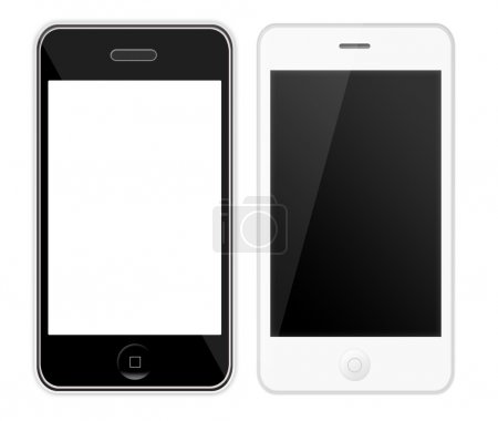 Photo for Two mobile phone with blank screen isolated on white background - Royalty Free Image