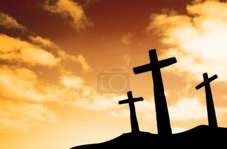 Three crosses on a hill