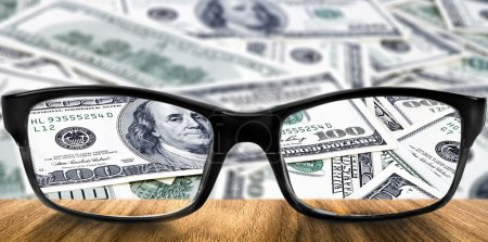 Clear dollar in glasses
