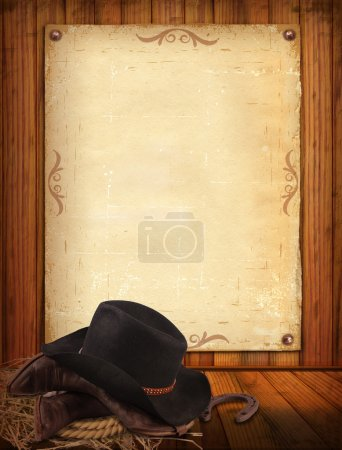 Photo for Western background with cowboy clothes and old paper - Royalty Free Image