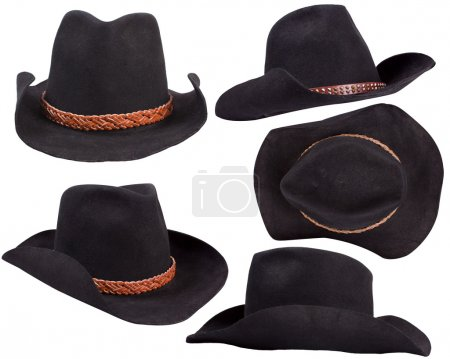 Cowboy black hats isolated on white background for design