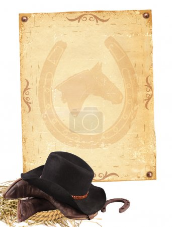 Western background with cowboy clothes and old paper isolated on